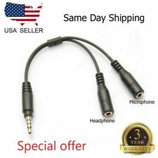 2x3.5mm Stereo Audio Male To 2 Female Headphone Mic Y Splitter Cable Adapter USA