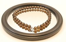 """""""LOOK NATURAL SMOKY QUARTZ 12 MM BEADS NECKLACE WITH STERLING SILVER CLASP"""