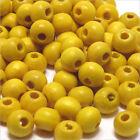 Lot de 100 Perles rondes en bois 6mm Jaune citron