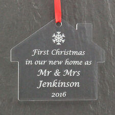 Personalised First Christmas New Home Mr & Mrs Married Bauble Gift Present 1st