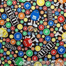 BonEful Fabric FQ Cotton Quilt Brown Chocolate Red Blue M&M Candy Food Dot Face