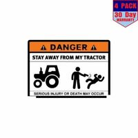 Danger Stay Away From My Tractor 4 pack 4x4 Inch Sticker Decal
