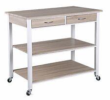 Home Basics NEW Oak Kitchen Island Trolley wit Storage Drawers / Shelves KT44134