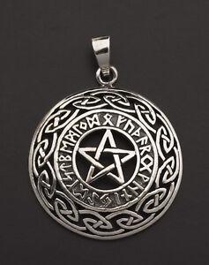 Colgante Tetragrammaton Rune Vikingo Pentagrama Pagano Plata 925 7g 25849 K25