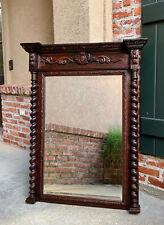Antique English Carved Oak Beveled Wall Mirror Barley Twist Frame Pier Mantel