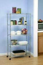 35 Tier Shelf Adjustable Wire Microwave Oven Metal Shelving Rack With Wheels