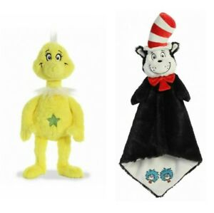 Dr Seuss Luvster 20'' &  Sneetch Plush Toy Cat in the Hat Blanket Comforter
