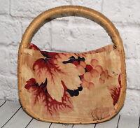 Vtg Rattan Wicker Purse Tote Floral Barkcloth Fabric Sewing Knitting Bag 1940s