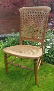 Antique Victorian Cane Rattan Woven Seat & Back Bedroom Chair French Walnut