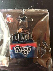 SUPER BOWL LIII 53 LOGO PIN LOS ANGELES RAMS METAL EMBOSSED NFL FOOTBALL