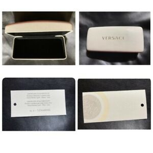 Versace Sunglass Eyeglass White Leather Hard Case w/Certificate Of Authenticity