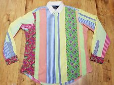 Vtg  Polo Ralph Lauren Mens XL Custom Fit Shirt Long Sleeve Floral/Striped Shirt