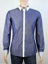 River Island mens Size Small Medium slim fit blue long sleeve shirt