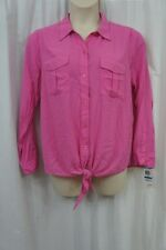 INC International Concepts Top Sz XL Pink Pop Crepe Rayon Knot Button Down