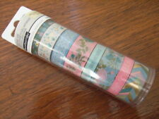 """Recollections Washi Crafting Tape """"Honeydew"""" 8 Rolls 65 Yards 496410 Foil Floral"""