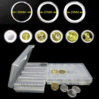 Coin Cases Capsules Containers Holder Storage Clear Round Box 25/27/30mm 100Pcs