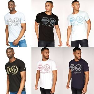 Mens Crosshatch Logo T Shirt Short Sleeve Crew Neck Cotton Casual Summer Top New