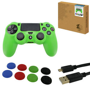 Controller cover for PS4 inc thumb grips & 3m charging cable - Green | ZedLabz