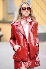 NWT ZARA PATENT FINISH BIKER JACKET RED COAT FAUX LEATHER MOTOR 3427/249 Sz XS