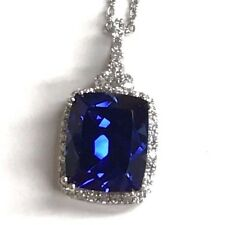 Sterling Silver 925 - Radiant Blue Sapphire Rectangular CZ Pave Halo Necklace