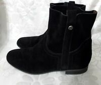 Frye and co womens size 9.5 black suede leather ankle boots motorcycle biker