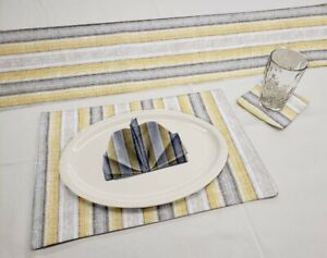 Yellow Gray Beige Stripes Runner Placemats Coasters & Cloth Napkins Table Linen
