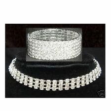 CRYSTAL RHINESTONE NECKLACE Choker 3 ROW Bracelet 6 ROW