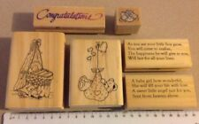 Quality Wood mounted rubber stamp set Baby Card Scrapbooking Craft