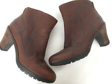 Timberland Womens Ankle Boots Booties Brown Leather Heels Size 9.5 Zipper