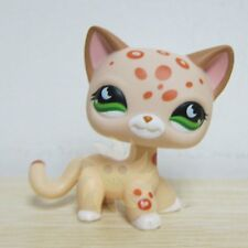 Littlest Pet Shop LPS Cat Leopard Cheetah Tan With Orange Spots Green Eyes #852