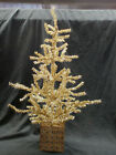 """NEW GOLD METALLIC TINSEL CHRISTMAS TREE IN SQUARE METAL CONTAINER, 24"""" H, VGC,NR"""