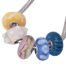10pcs Mixed Color And Pattern European Charms Lampwork Glass Bead Fit Handmade L