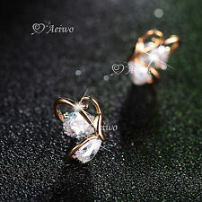 18K YELLOW GOLD FILLED MADE WITH SWAROVSKI CRYSTAL EARRINGS BUTTERFLY STUD