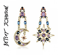 US Seller  Betsey Johnson Stunning Sun Moon Star Crystal Dangle Earrings