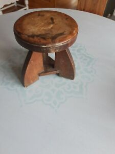 Vintage rustic small milking stool, oak, wood, plant stand
