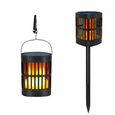 96LED Solar Light Flickering Flame Lantern Hanging Lamp Waterproof  Outdoor Path
