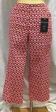 Red White Crop Capri Pants Women's 10 Slim Stretch Bottoms Zac & Rachel New Tags