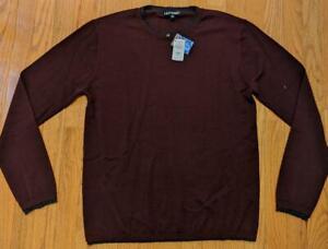 $275 Mens Neiman Marcus Double Trim Cashmere Lightweight Sweater Red/Black XL