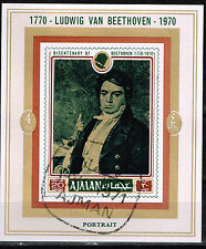 Ajman Arts Famous Music Composer Beethoven 200 Ann Souvenir Sheet 1970