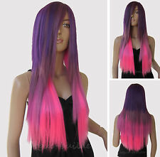 70 cm Long Straight Heat resistant Multi-color Halloween Cosplay Party Hair Wig