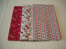 """3 VINTAGE PIECES OF CHRISTMAS FABRIC 18"""" X 42"""" EACH.RED WHITE AND GREEN"""