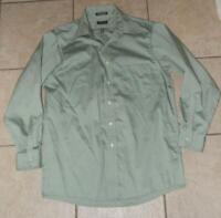 ARROW Mens Medium 15 1/2 (32 / 33) Church Office Green Button Down Dress Shirt