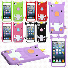 iPod Touch 5th 6th Gen Rubber SILICONE Soft Gel Skin Cover Cute Pig+Screen Guard