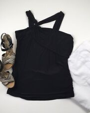 Lane Bryant Top 18/20 Black Plus Size Asymmetrical Y Neck Tank Slinky Dressy