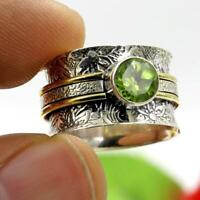 Peridot Solid 925 Sterling Silver Ring Spinner Meditation Statement Ring 12