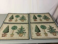 NWOT USA Made 4 Tapestry Placemats Cheri Blum Christmas Topiaries #550Z