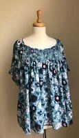 NWTs! $54 Ann Taylor Loft Women's XL Floral Smocked Top Blouse, Short Sleeve