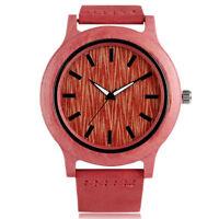 New Bamboo Pattern Pink Genuine Leather Band Strap Nature Wood Women Wrist Watch