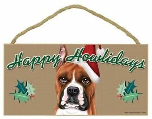 """Happy Howlidays Boxer Christmas Holiday Dog Sign Great Gift 5""""x10"""" Plaque 263"""