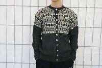 Vintage Herren Strickjacke Jacket Gr. ca. S - M Grau Weiss Pullover Sweater DZ3